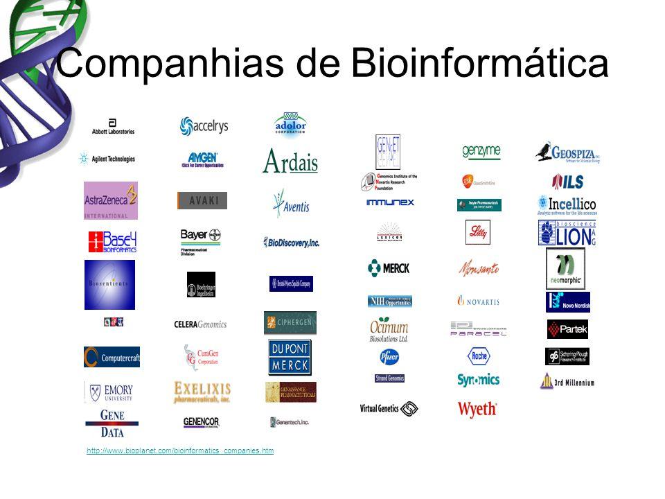 Companhias de Bioinformática http://www.bioplanet.com/bioinformatics_companies.htm