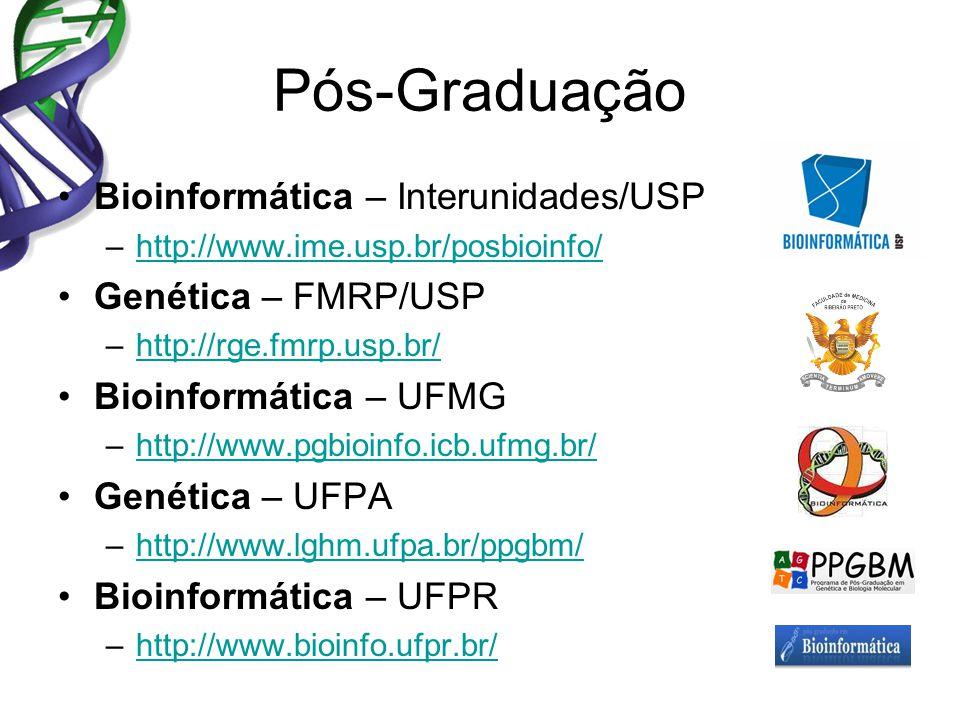 Pós-Graduação Bioinformática – Interunidades/USP –http://www.ime.usp.br/posbioinfo/http://www.ime.usp.br/posbioinfo/ Genética – FMRP/USP –http://rge.fmrp.usp.br/http://rge.fmrp.usp.br/ Bioinformática – UFMG –http://www.pgbioinfo.icb.ufmg.br/http://www.pgbioinfo.icb.ufmg.br/ Genética – UFPA –http://www.lghm.ufpa.br/ppgbm/http://www.lghm.ufpa.br/ppgbm/ Bioinformática – UFPR –http://www.bioinfo.ufpr.br/http://www.bioinfo.ufpr.br/