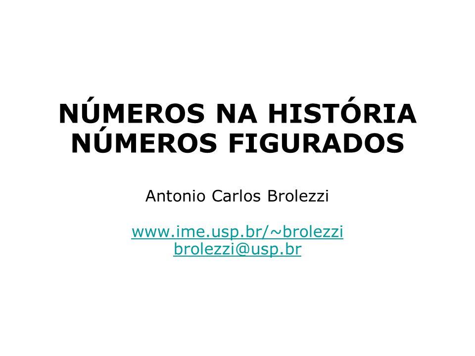 NÚMEROS NA HISTÓRIA NÚMEROS FIGURADOS Antonio Carlos Brolezzi www.ime.usp.br/~brolezzi brolezzi@usp.br www.ime.usp.br/~brolezzi brolezzi@usp.br