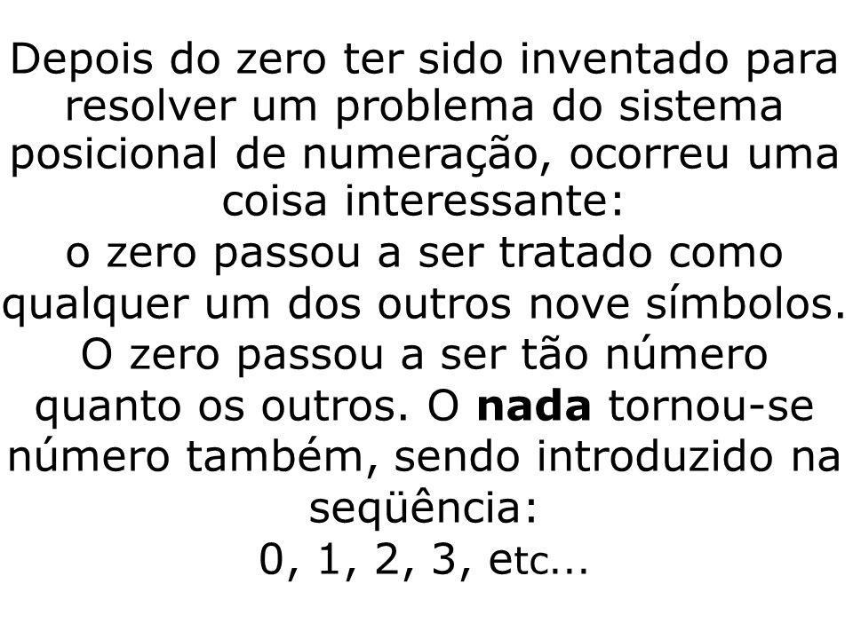 Depois do zero ter sido inventado para resolver um problema do sistema posicional de numeração, ocorreu uma coisa interessante: o zero passou a ser tratado como qualquer um dos outros nove símbolos.