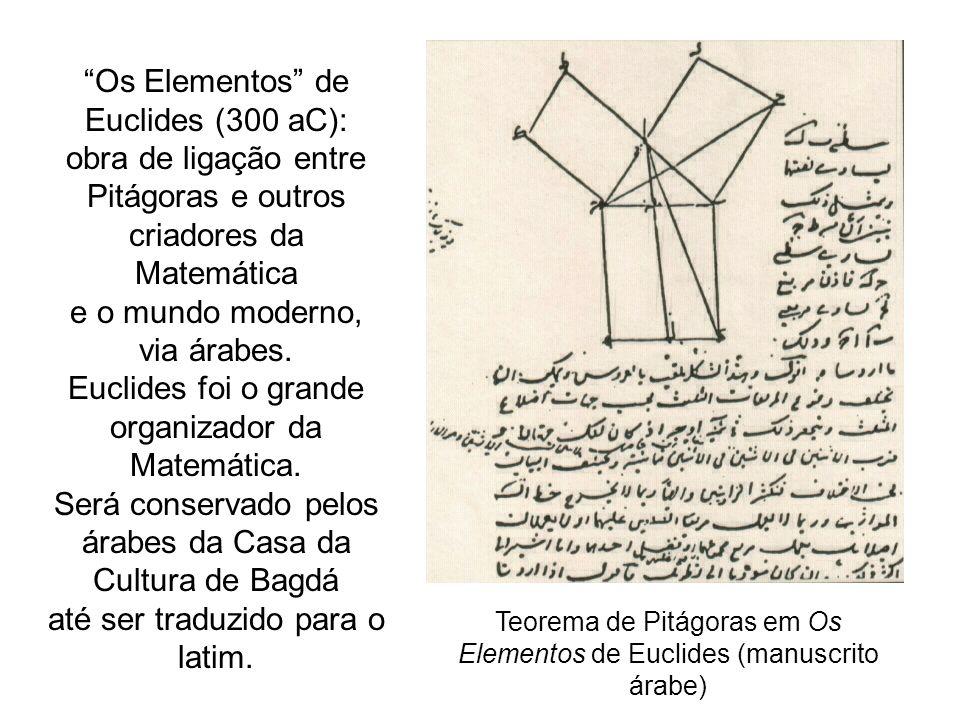 Os Elementos de Euclides (300 aC): obra de ligação entre Pitágoras e outros criadores da Matemática e o mundo moderno, via árabes. Euclides foi o gran