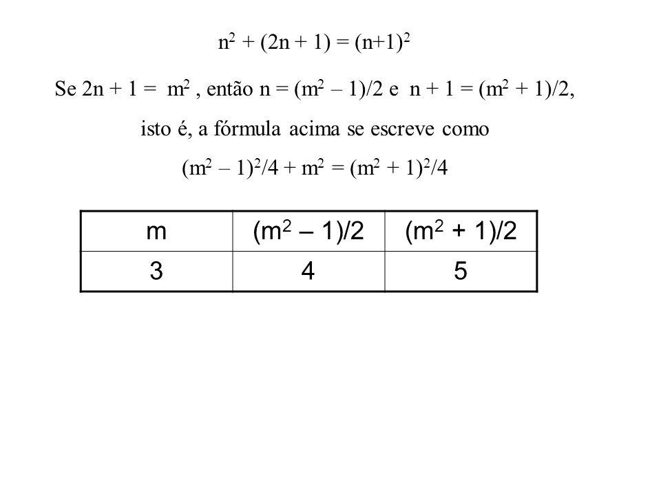 n 2 + (2n + 1) = (n+1) 2 Se 2n + 1 = m 2, então n = (m 2 – 1)/2 e n + 1 = (m 2 + 1)/2, isto é, a fórmula acima se escreve como (m 2 – 1) 2 /4 + m 2 = (m 2 + 1) 2 /4 m(m 2 – 1)/2(m 2 + 1)/2 345