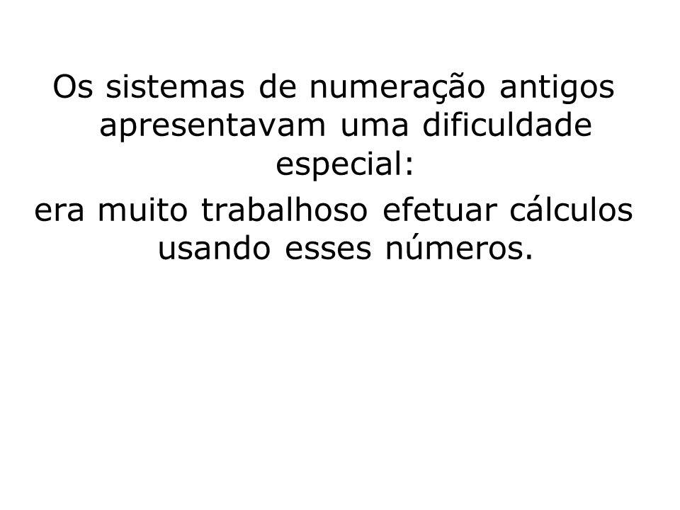 Os sistemas de numeração antigos apresentavam uma dificuldade especial: era muito trabalhoso efetuar cálculos usando esses números.