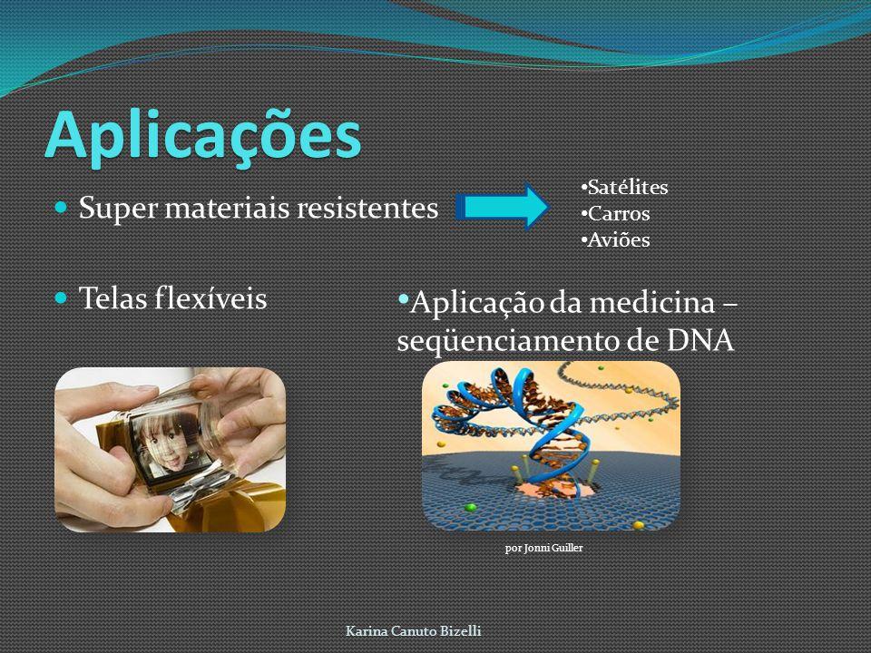 Aplicações Super materiais resistentes Telas flexíveis Karina Canuto Bizelli Satélites Carros Aviões Aplicação da medicina – seqüenciamento de DNA por