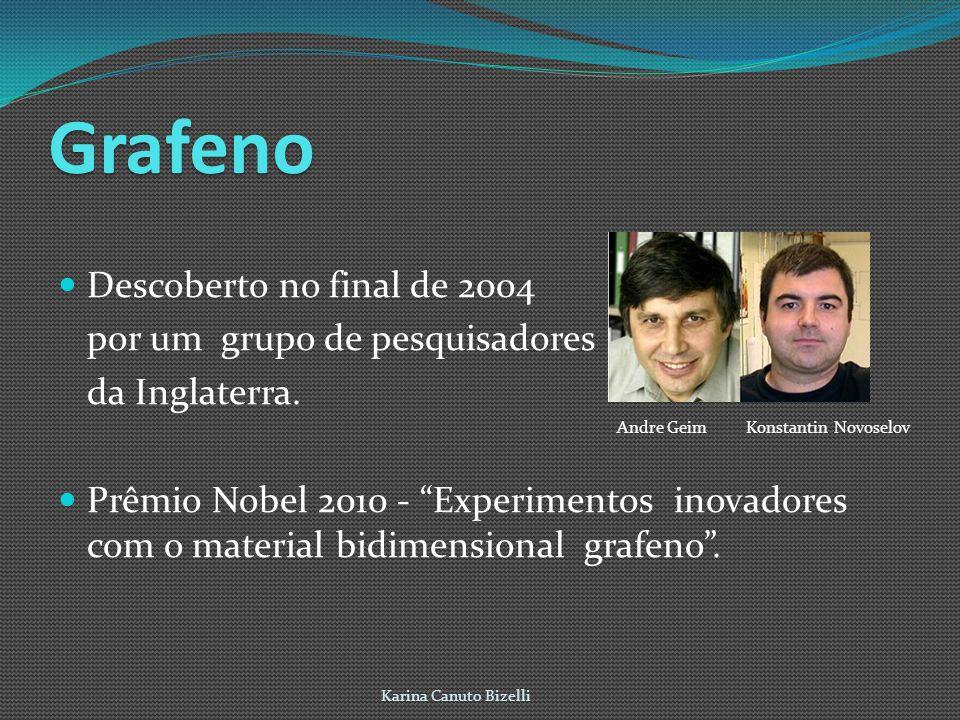 Grafeno Descoberto no final de 2004 por um grupo de pesquisadores da Inglaterra. Prêmio Nobel 2010 - Experimentos inovadores com o material bidimensio