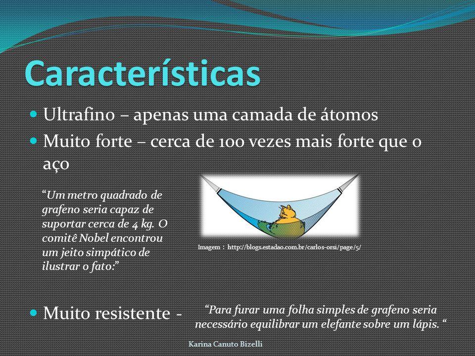 Características Ultrafino – apenas uma camada de átomos Muito forte – cerca de 100 vezes mais forte que o aço Muito resistente - Karina Canuto Bizelli