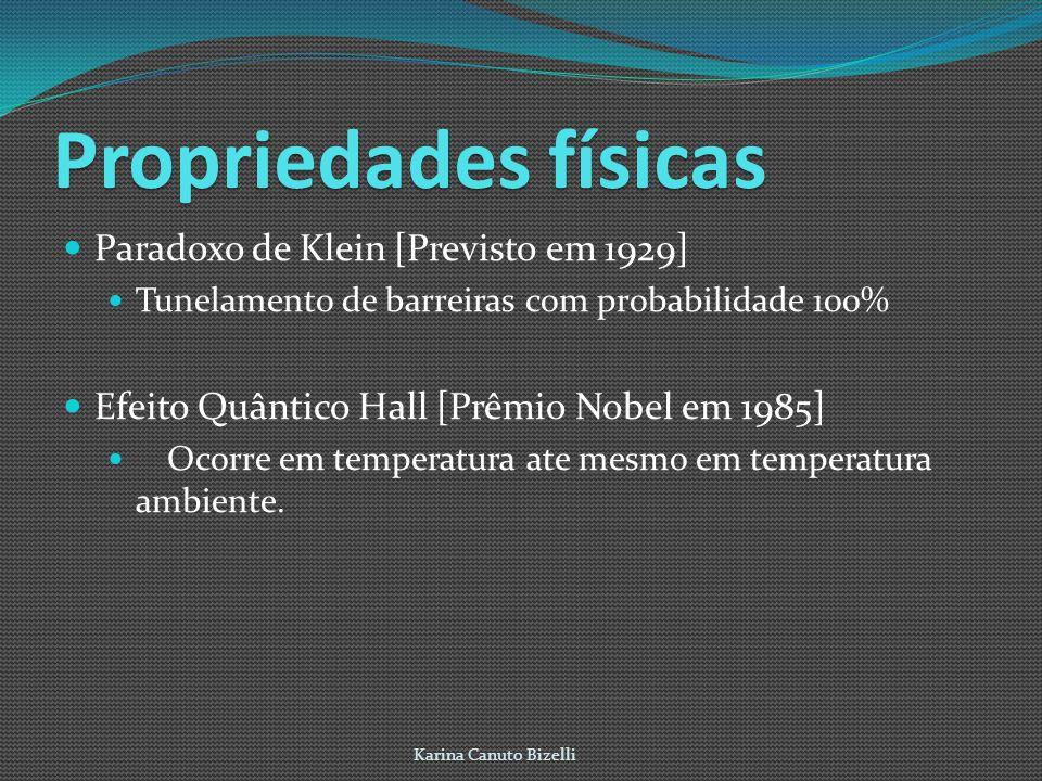 Propriedadesfísicas Propriedades físicas Paradoxo de Klein [Previsto em 1929] Tunelamento de barreiras com probabilidade 100% Efeito Quântico Hall [Prêmio Nobel em 1985] Ocorre em temperatura ate mesmo em temperatura ambiente.