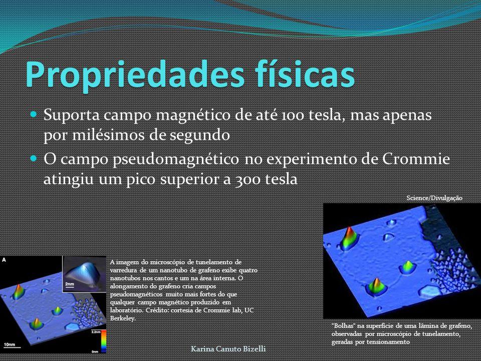 Propriedadesfísicas Propriedades físicas Suporta campo magnético de até 100 tesla, mas apenas por milésimos de segundo O campo pseudomagnético no experimento de Crommie atingiu um pico superior a 300 tesla Karina Canuto Bizelli Bolhas na superfície de uma lâmina de grafeno, observadas por microscópio de tunelamento, geradas por tensionamento Science/Divulgação A imagem do microscópio de tunelamento de varredura de um nanotubo de grafeno exibe quatro nanotubos nos cantos e um na área interna.