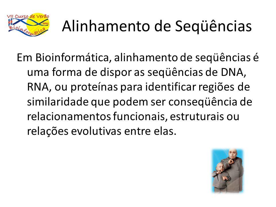 Alinhamento de Seqüências Em Bioinformática, alinhamento de seqüências é uma forma de dispor as seqüências de DNA, RNA, ou proteínas para identificar