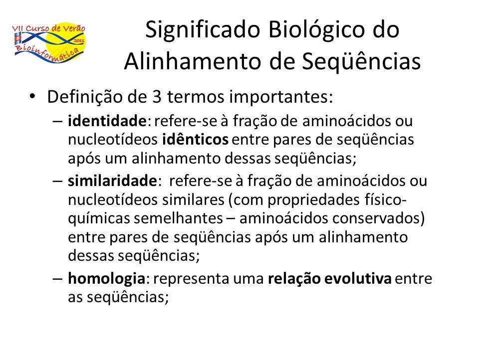 Significado Biológico do Alinhamento de Seqüências Definição de 3 termos importantes: – identidade: refere-se à fração de aminoácidos ou nucleotídeos