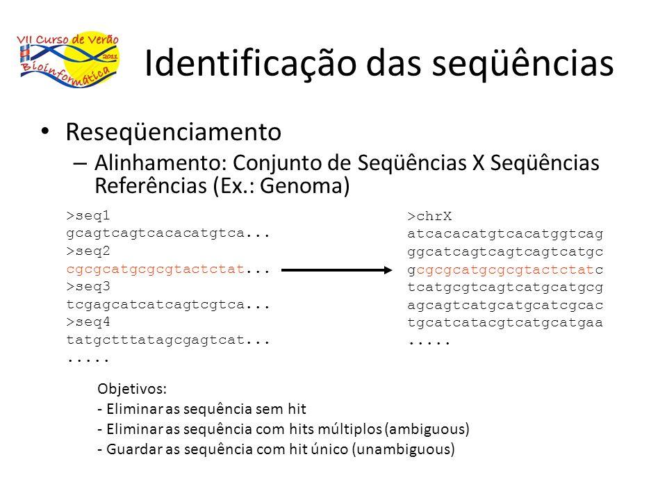 Identificação das seqüências Reseqüenciamento – Alinhamento: Conjunto de Seqüências X Seqüências Referências (Ex.: Genoma) >seq1 gcagtcagtcacacatgtca.
