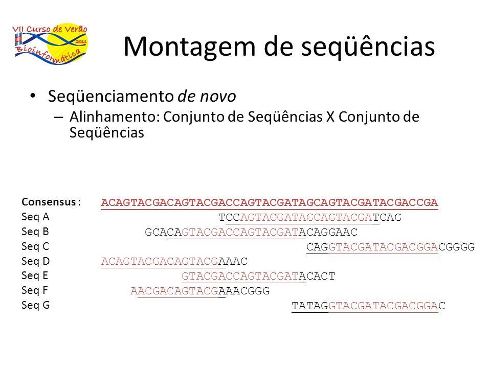 Montagem de seqüências Seqüenciamento de novo – Alinhamento: Conjunto de Seqüências X Conjunto de Seqüências ACAGTACGACAGTACGACCAGTACGATAGCAGTACGATACG