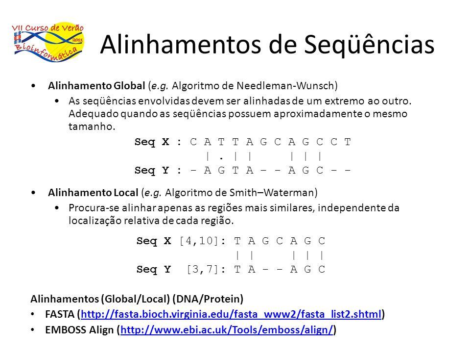 Alinhamentos de Seqüências Alinhamento Global (e.g. Algoritmo de Needleman-Wunsch) As seqüências envolvidas devem ser alinhadas de um extremo ao outro