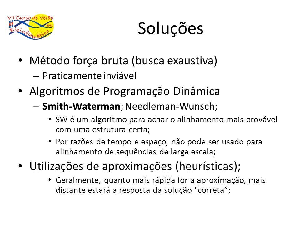 Soluções Método força bruta (busca exaustiva) – Praticamente inviável Algoritmos de Programação Dinâmica – Smith-Waterman; Needleman-Wunsch; SW é um a