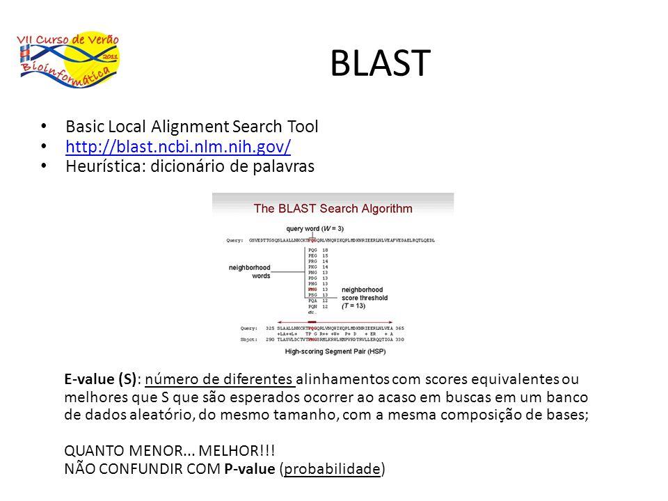 BLAST Basic Local Alignment Search Tool http://blast.ncbi.nlm.nih.gov/ Heurística: dicionário de palavras E-value (S): número de diferentes alinhament