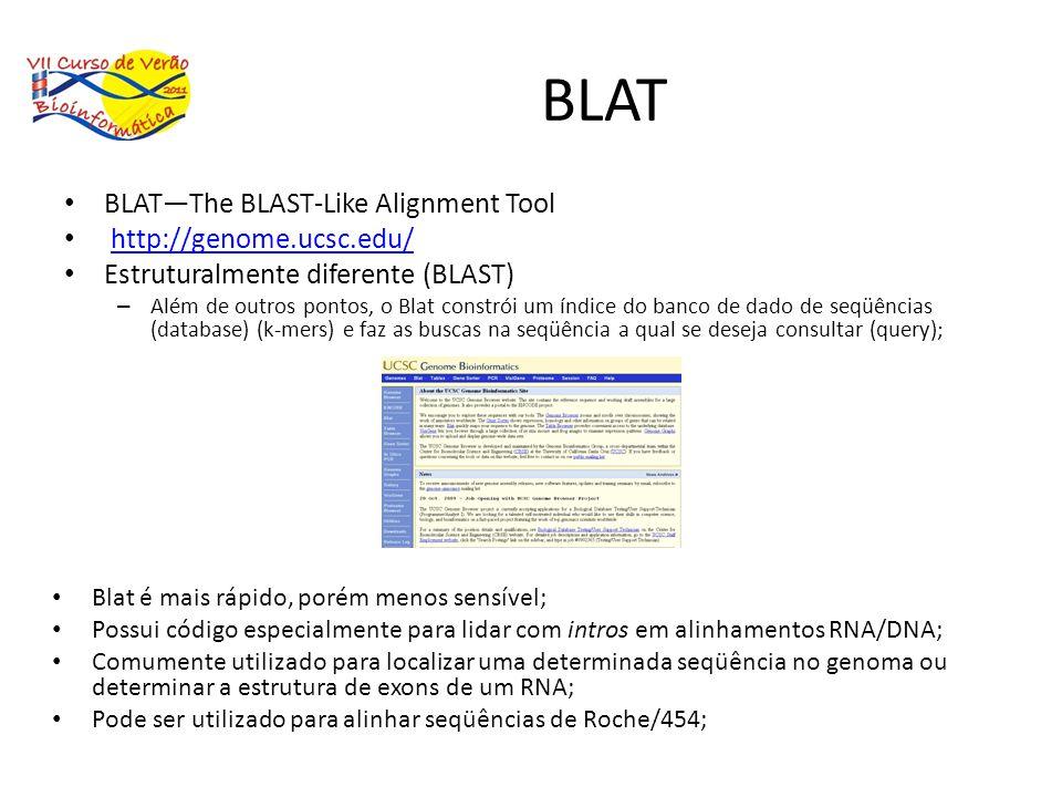 BLAT BLATThe BLAST-Like Alignment Tool http://genome.ucsc.edu/ Estruturalmente diferente (BLAST) – Além de outros pontos, o Blat constrói um índice do