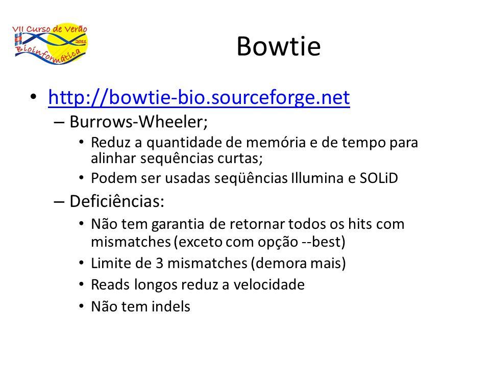Bowtie http://bowtie-bio.sourceforge.net – Burrows-Wheeler; Reduz a quantidade de memória e de tempo para alinhar sequências curtas; Podem ser usadas