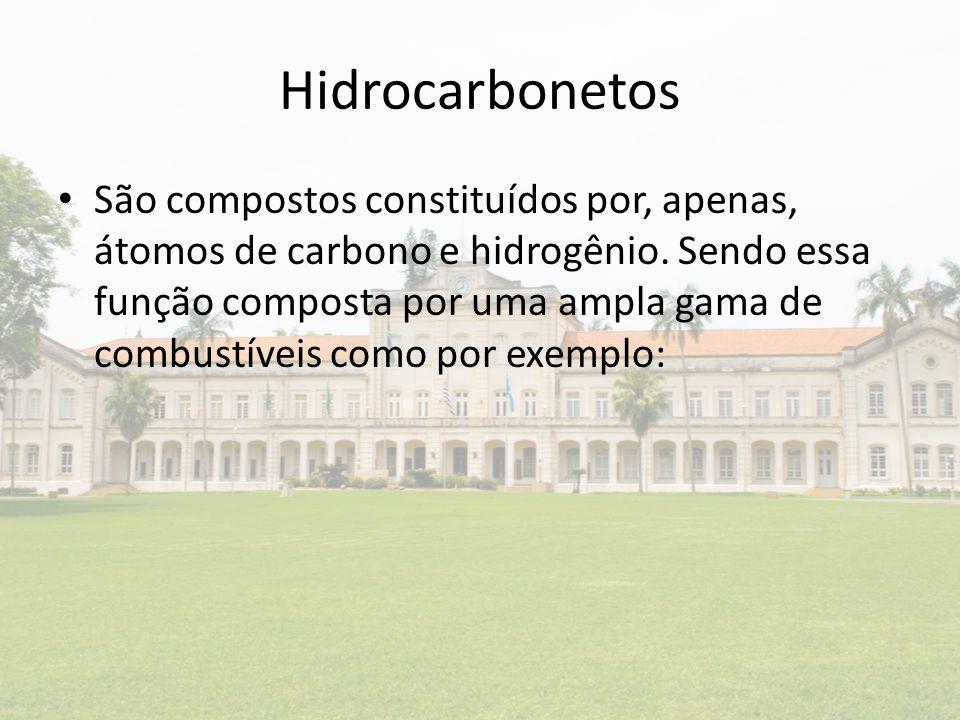 Hidrocarbonetos São compostos constituídos por, apenas, átomos de carbono e hidrogênio. Sendo essa função composta por uma ampla gama de combustíveis