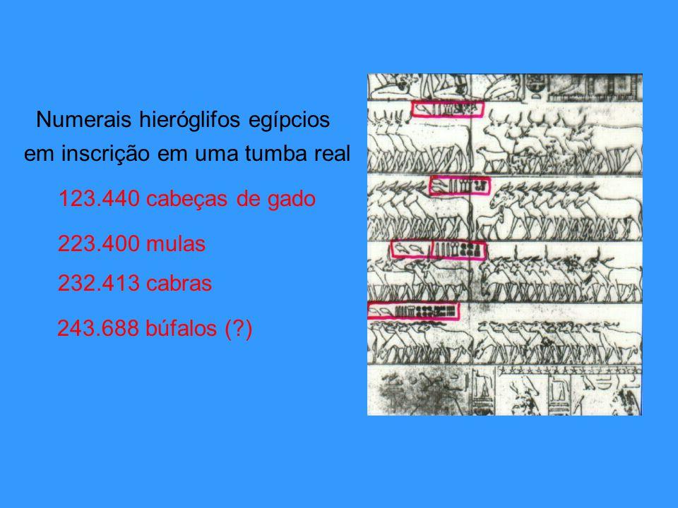 Numerais hieróglifos egípcios 123.440 cabeças de gado 223.400 mulas 232.413 cabras em inscrição em uma tumba real 243.688 búfalos (?)