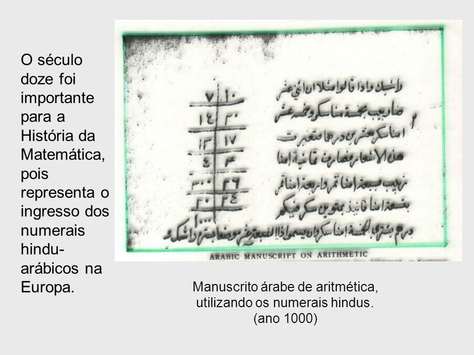 O século doze foi importante para a História da Matemática, pois representa o ingresso dos numerais hindu- arábicos na Europa. Manuscrito árabe de ari