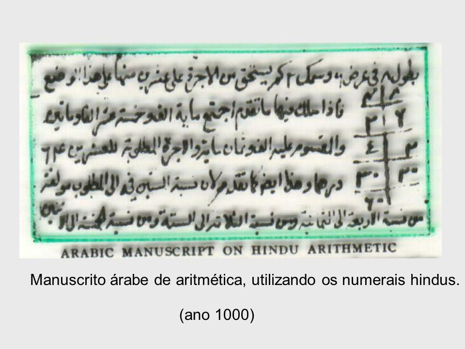 Manuscrito árabe de aritmética, utilizando os numerais hindus. (ano 1000)