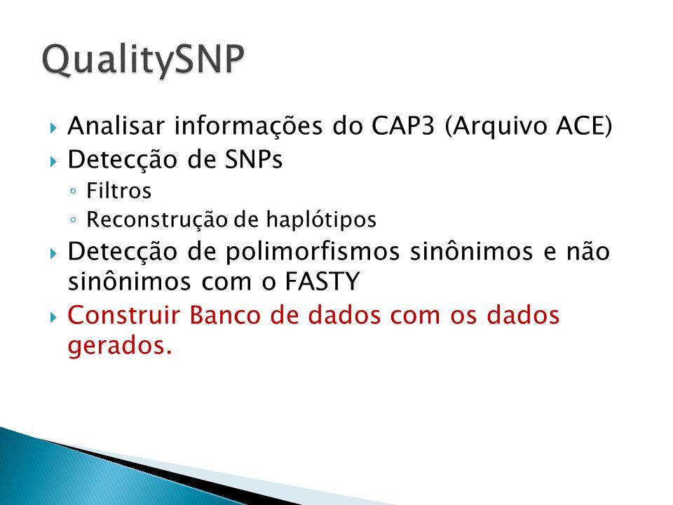 Analisar informações do CAP3 (Arquivo ACE) Detecção de SNPs Filtros Reconstrução de haplótipos Detecção de polimorfismos sinônimos e não sinônimos com o FASTY Construir Banco de dados com os dados gerados.