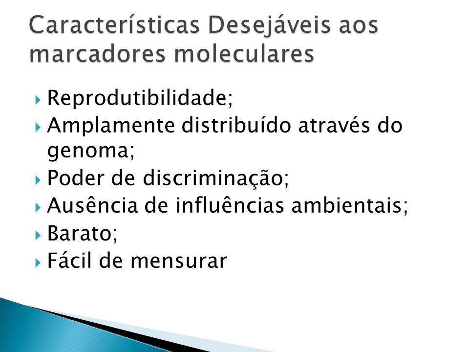 Reprodutibilidade; Amplamente distribuído através do genoma; Poder de discriminação; Ausência de influências ambientais; Barato; Fácil de mensurar