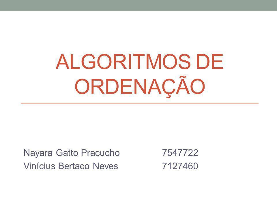 ALGORITMOS DE ORDENAÇÃO Nayara Gatto Pracucho7547722 Vinícius Bertaco Neves7127460