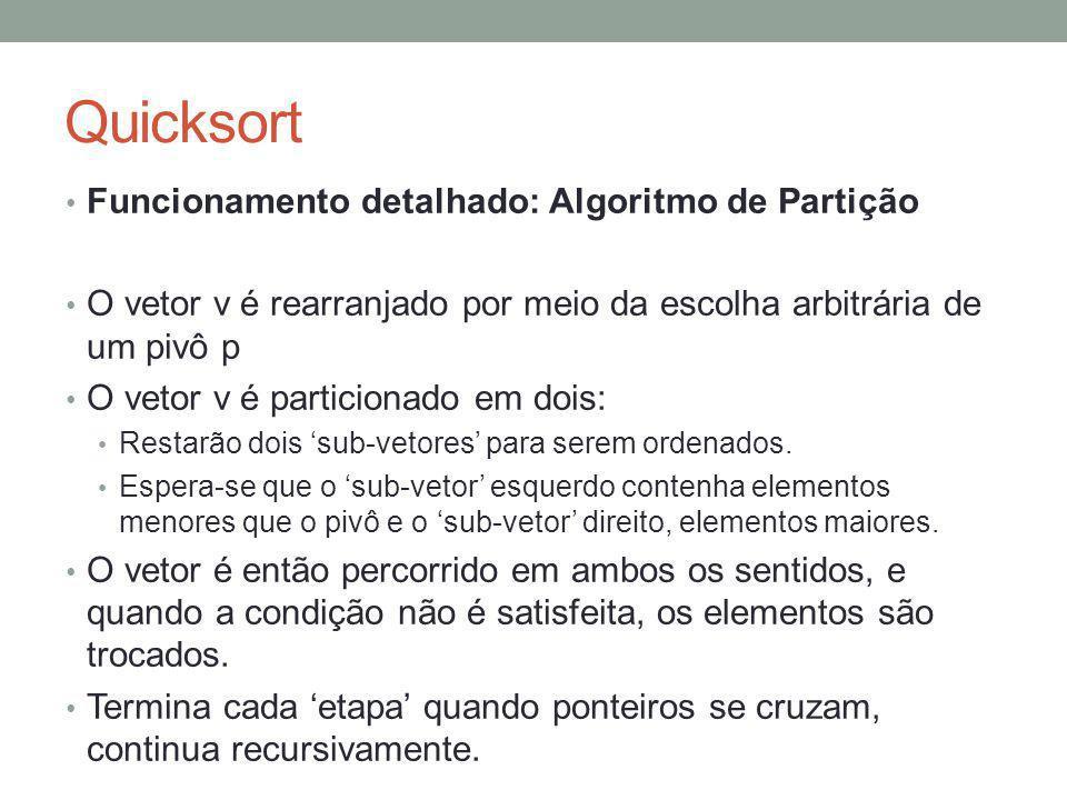 Quicksort Funcionamento detalhado: Algoritmo de Partição O vetor v é rearranjado por meio da escolha arbitrária de um pivô p O vetor v é particionado