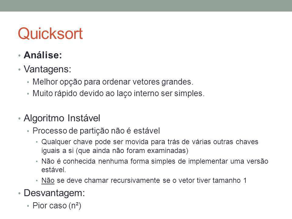 Quicksort Análise: Vantagens: Melhor opção para ordenar vetores grandes. Muito rápido devido ao laço interno ser simples. Algoritmo Instável Processo