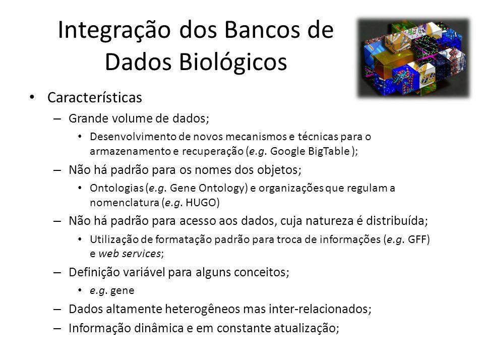 Integração dos Bancos de Dados Biológicos Características – Grande volume de dados; Desenvolvimento de novos mecanismos e técnicas para o armazenament