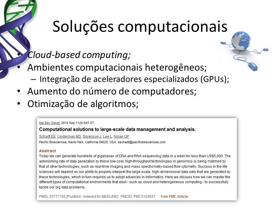 Soluções computacionais Cloud-based computing; Ambientes computacionais heterogêneos; – Integração de aceleradores especializados (GPUs); Aumento do n