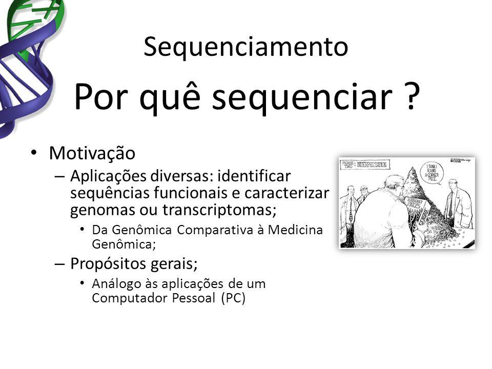 Sequenciamento Por quê sequenciar ? Motivação – Aplicações diversas: identificar sequências funcionais e caracterizar genomas ou transcriptomas; Da Ge
