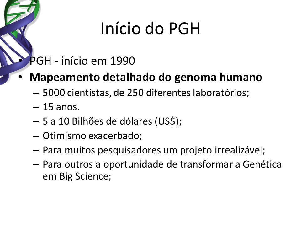 Início do PGH PGH - início em 1990 Mapeamento detalhado do genoma humano – 5000 cientistas, de 250 diferentes laboratórios; – 15 anos. – 5 a 10 Bilhõe