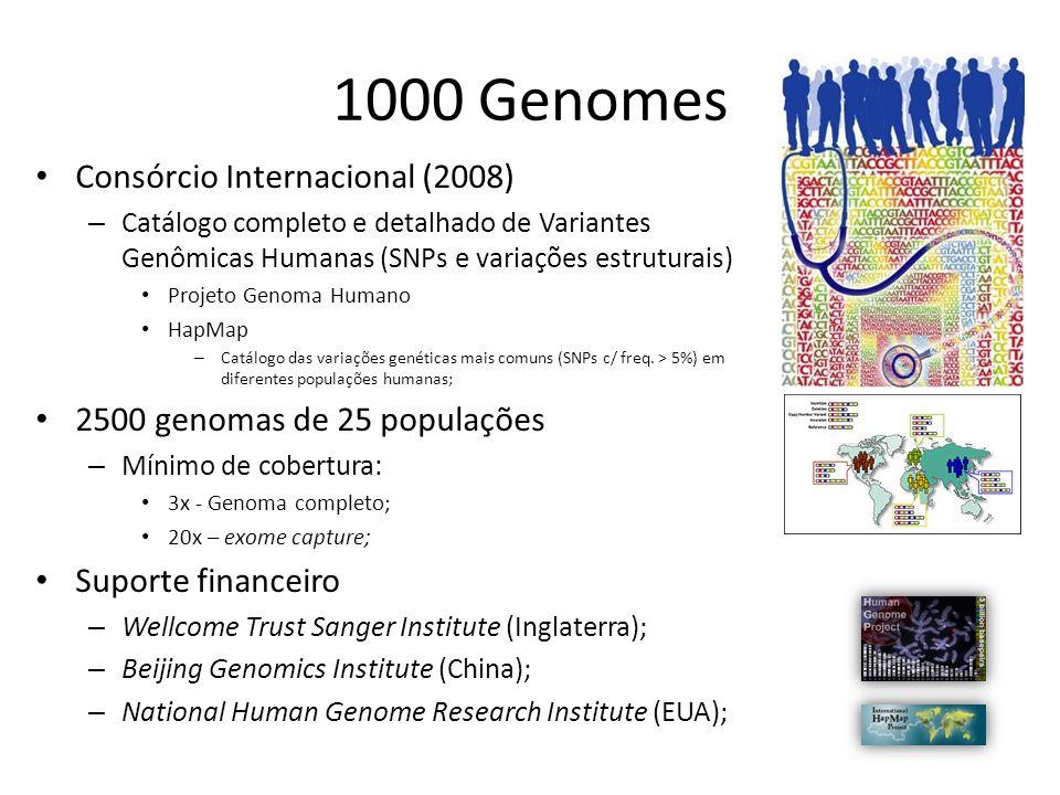 1000 Genomes Consórcio Internacional (2008) – Catálogo completo e detalhado de Variantes Genômicas Humanas (SNPs e variações estruturais) Projeto Geno