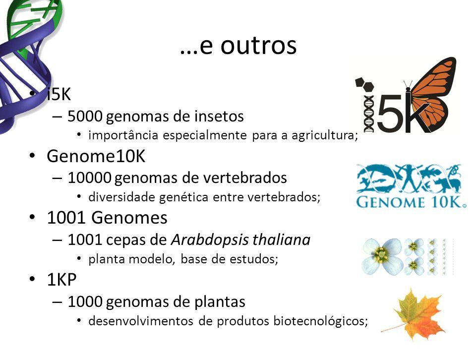 …e outros i5K – 5000 genomas de insetos importância especialmente para a agricultura; Genome10K – 10000 genomas de vertebrados diversidade genética en