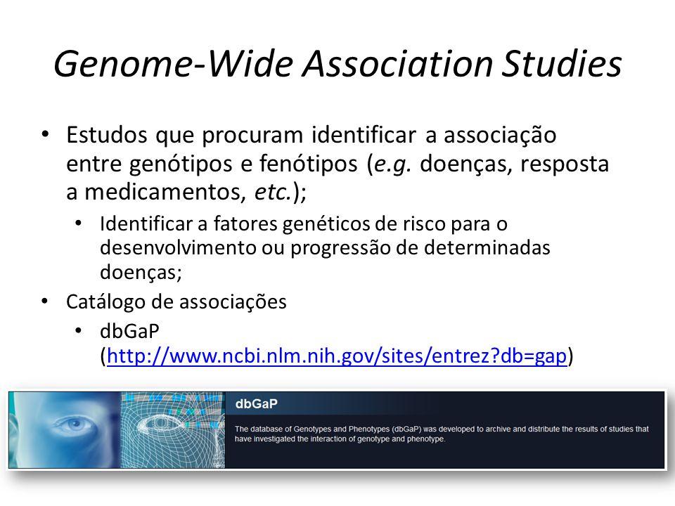 Genome-Wide Association Studies Estudos que procuram identificar a associação entre genótipos e fenótipos (e.g. doenças, resposta a medicamentos, etc.