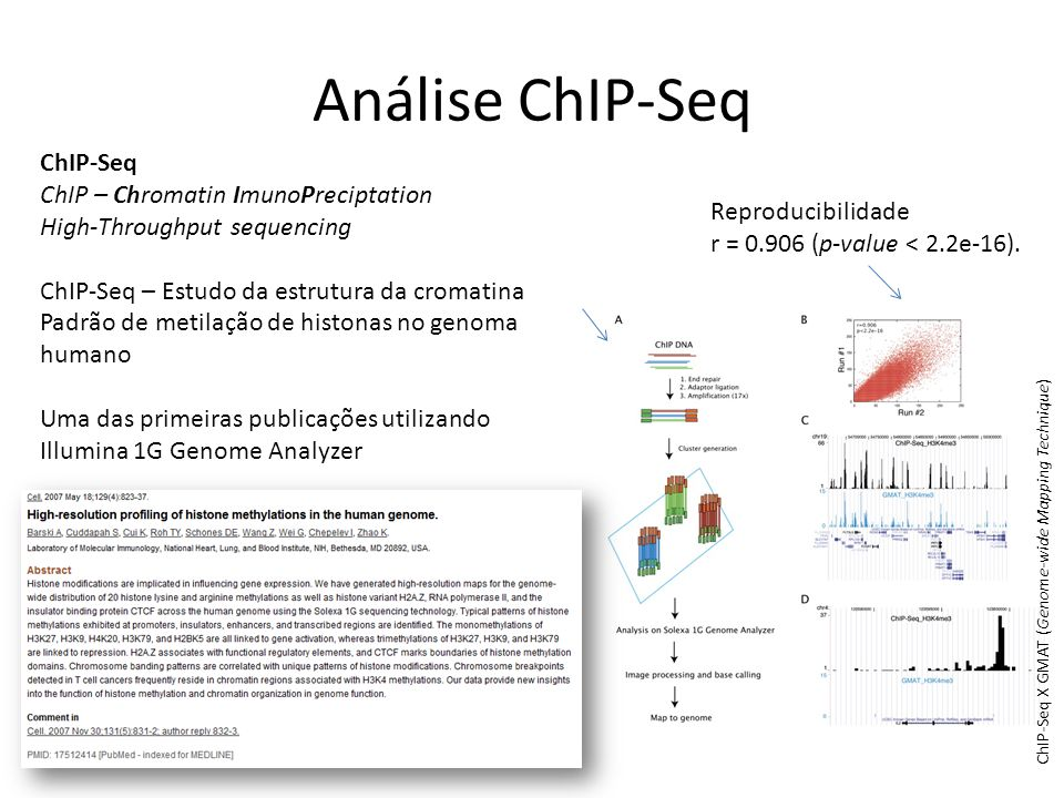 Análise ChIP-Seq ChIP-Seq ChIP – Chromatin ImunoPreciptation High-Throughput sequencing ChIP-Seq – Estudo da estrutura da cromatina Padrão de metilaçã