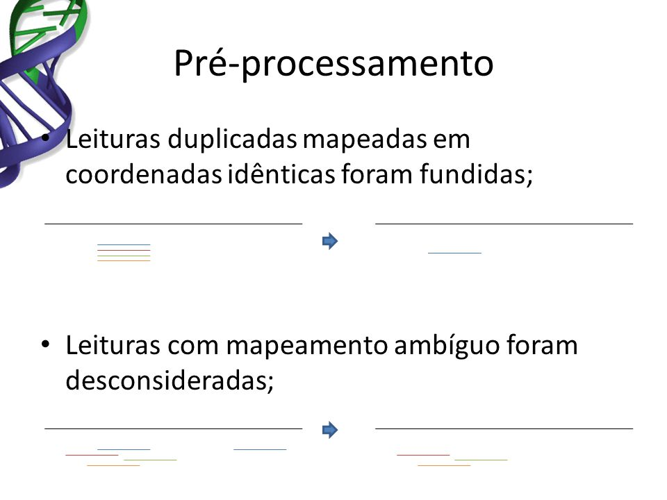 Pré-processamento Leituras duplicadas mapeadas em coordenadas idênticas foram fundidas; Leituras com mapeamento ambíguo foram desconsideradas;