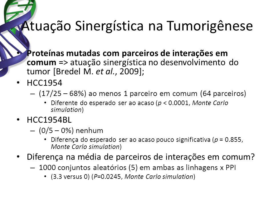 Atuação Sinergística na Tumorigênese Proteínas mutadas com parceiros de interações em comum => atuação sinergística no desenvolvimento do tumor [Brede