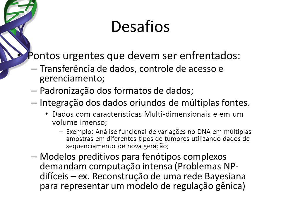 Desafios Pontos urgentes que devem ser enfrentados: – Transferência de dados, controle de acesso e gerenciamento; – Padronização dos formatos de dados
