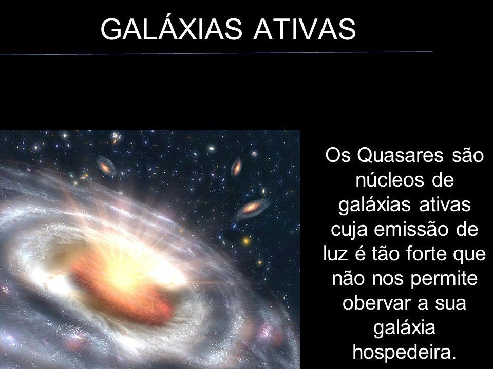 Os Quasares são núcleos de galáxias ativas cuja emissão de luz é tão forte que não nos permite obervar a sua galáxia hospedeira.