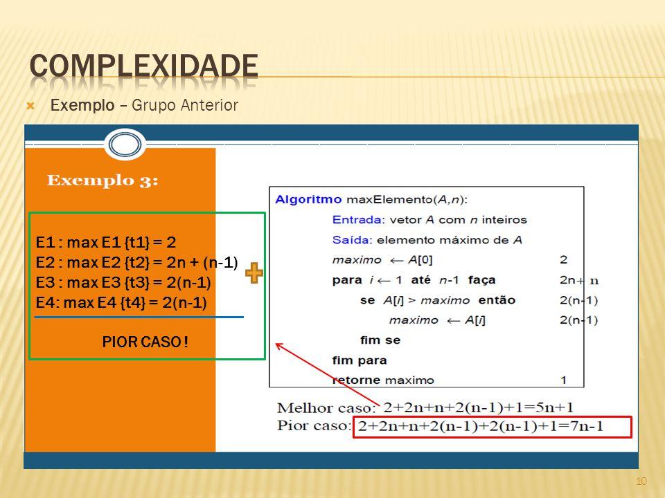 Exemplo – Grupo Anterior E1 : max E1 {t1} = 2 E2 : max E2 {t2} = 2n + (n-1) E3 : max E3 {t3} = 2(n-1) E4: max E4 {t4} = 2(n-1) PIOR CASO .