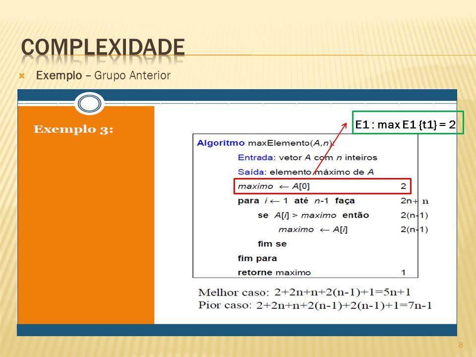 Exemplo – Grupo Anterior E1 : max E1 {t1} = 2 8