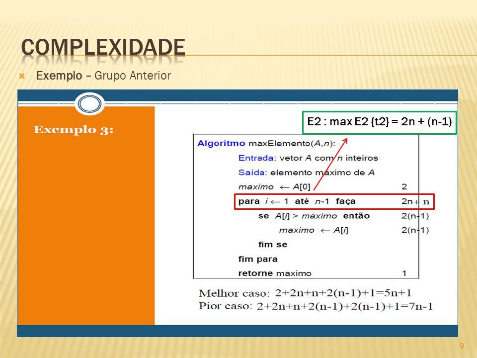 Exemplo – Grupo Anterior E2 : max E2 {t2} = 2n + (n-1) 9