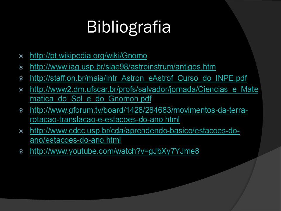 Bibliografia http://pt.wikipedia.org/wiki/Gnomo http://www.iag.usp.br/siae98/astroinstrum/antigos.htm http://staff.on.br/maia/Intr_Astron_eAstrof_Curs