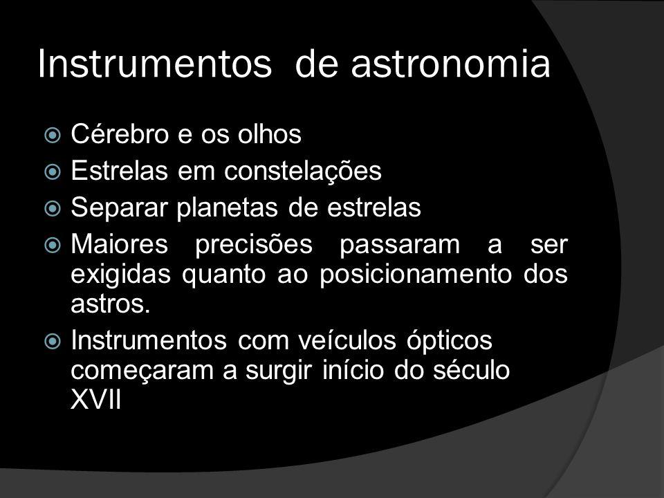 Instrumentos de astronomia Cérebro e os olhos Estrelas em constelações Separar planetas de estrelas Maiores precisões passaram a ser exigidas quanto a