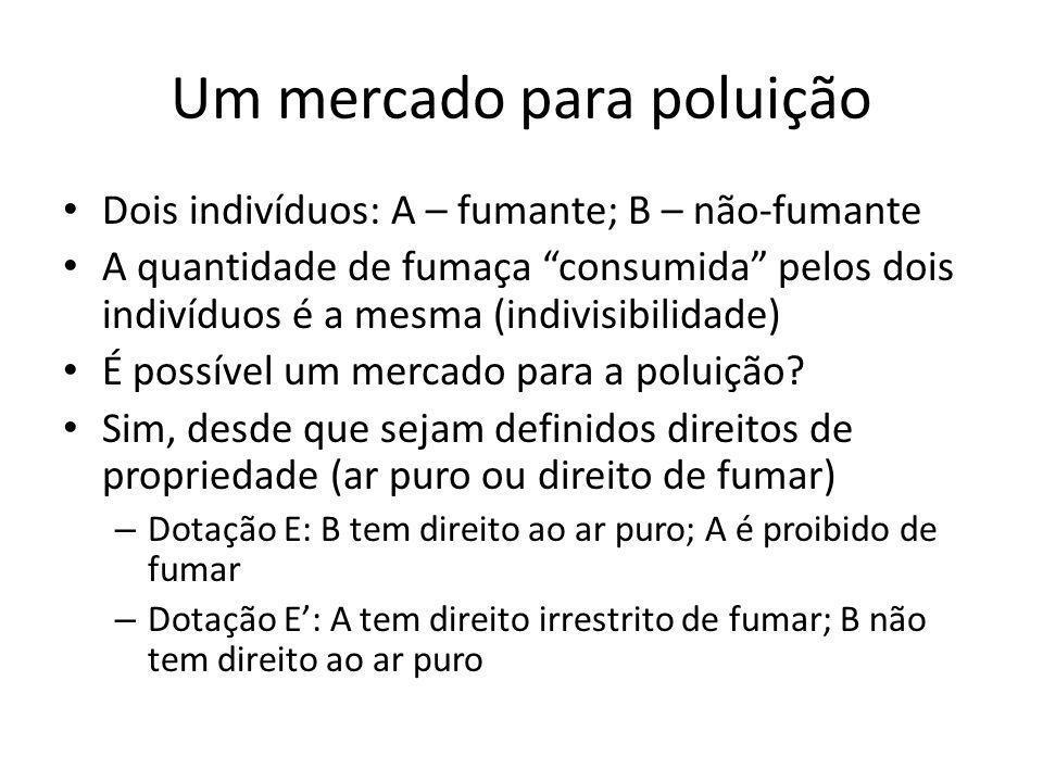 Um mercado para poluição Dois indivíduos: A – fumante; B – não-fumante A quantidade de fumaça consumida pelos dois indivíduos é a mesma (indivisibilid