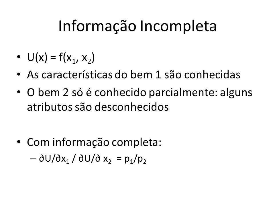 Informação Incompleta U(x) = f(x 1, x 2 ) As características do bem 1 são conhecidas O bem 2 só é conhecido parcialmente: alguns atributos são desconh