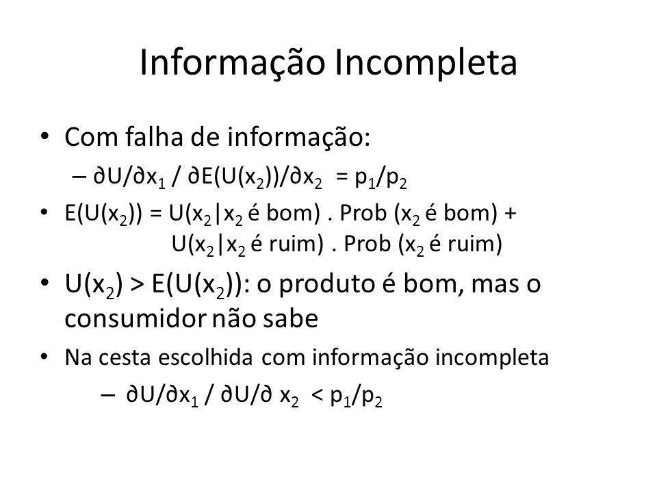 Informação Incompleta Com falha de informação: – U/x 1 / E(U(x 2 ))/x 2 = p 1 /p 2 E(U(x 2 )) = U(x 2 |x 2 é bom). Prob (x 2 é bom) + U(x 2 |x 2 é rui